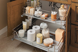 U-shaped Slide-Out cabinet storage in a vanity sink base cabinet