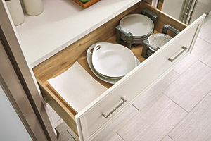 Wide Cabinet Drawer with Plate Organizer