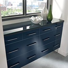 Summit acrylic cabinet drawers in Metallic Sapphire