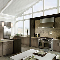 Kitchen featuring earth tone cabinets and natural lighting