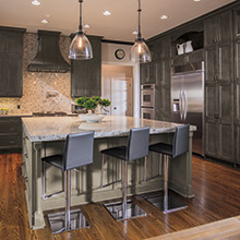 Lexington and Regency gray kitchen cabinets