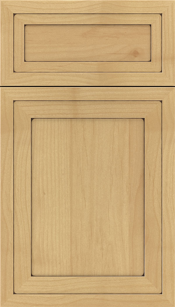 Asher 5pc Alder flat panel cabinet door in Natural with Mocha glaze