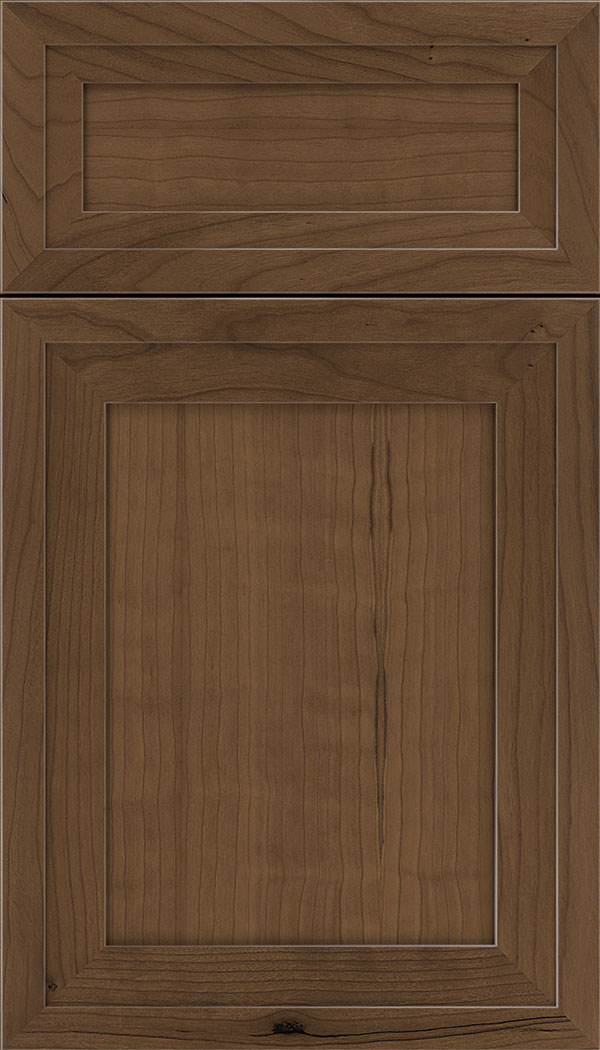 Asher 5pc Cherry flat panel cabinet door in Toffee