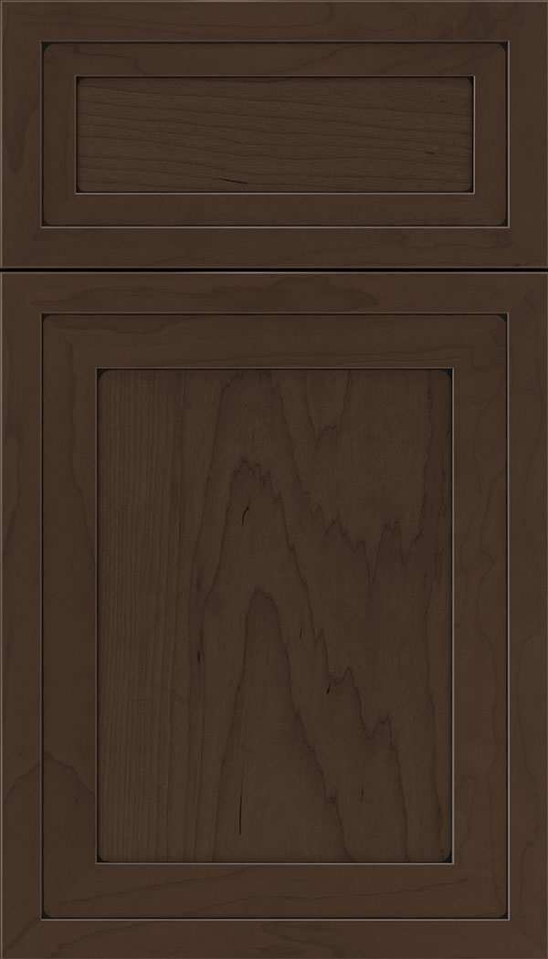 Asher 5pc Maple flat panel cabinet door in Cappuccino with Black glaze
