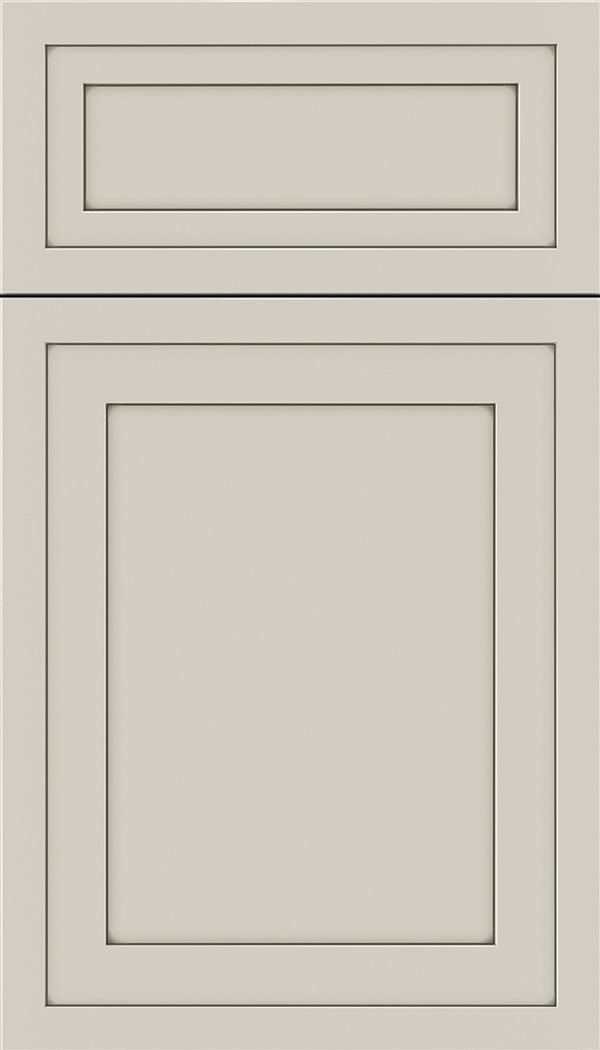 Asher 5pc Maple flat panel cabinet door in Cirrus with Smoke glaze