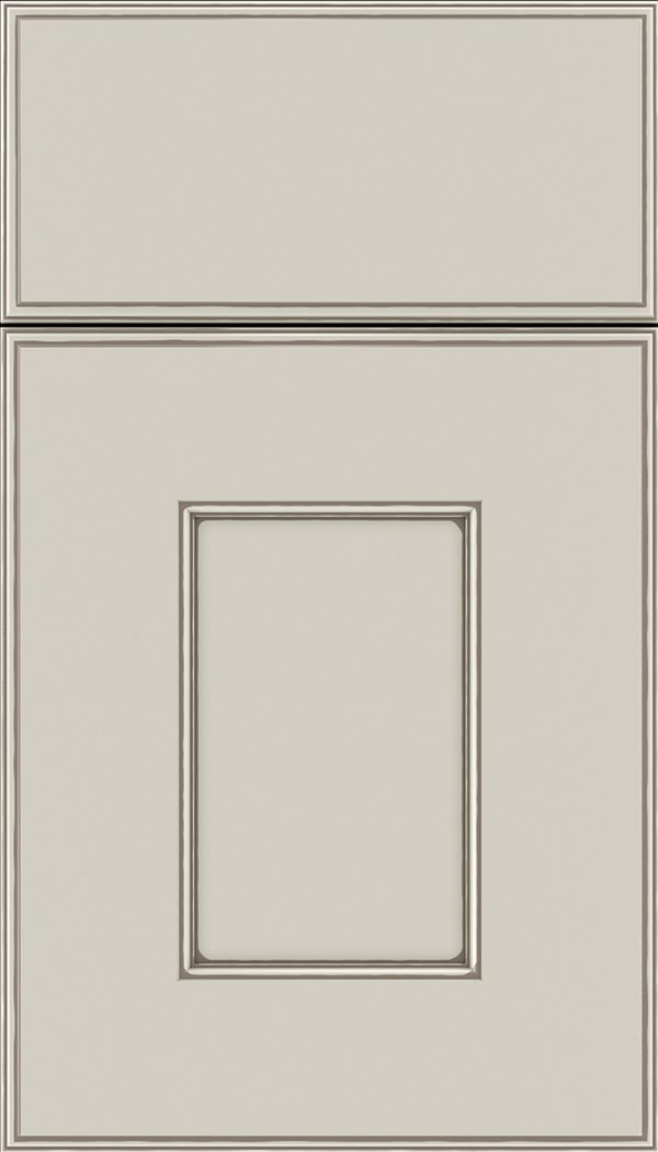 Berkeley Maple flat panel cabinet door in Cirrus with Smoke glaze