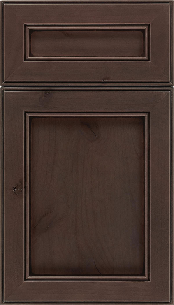 Chelsea 5pc Alder flat panel cabinet door in Thunder with Black glaze
