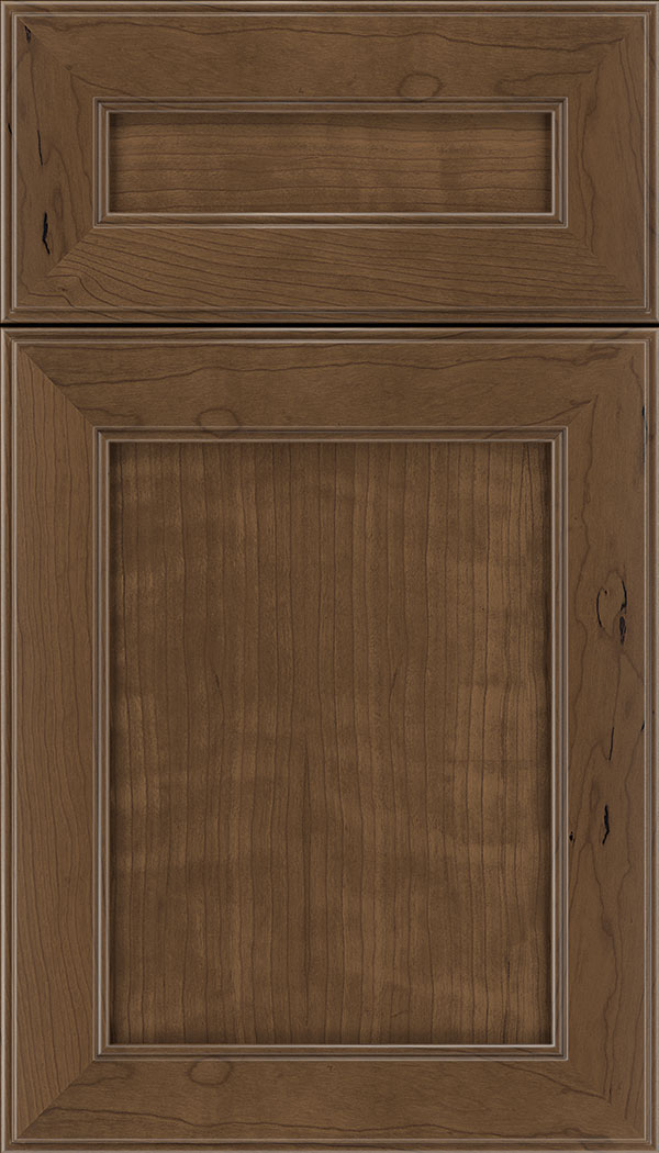 Chelsea 5pc Cherry flat panel cabinet door in Toffee