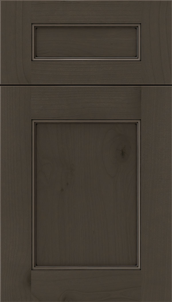 Lexington 5pc Alder recessed panel cabinet door in Thunder with Black glaze