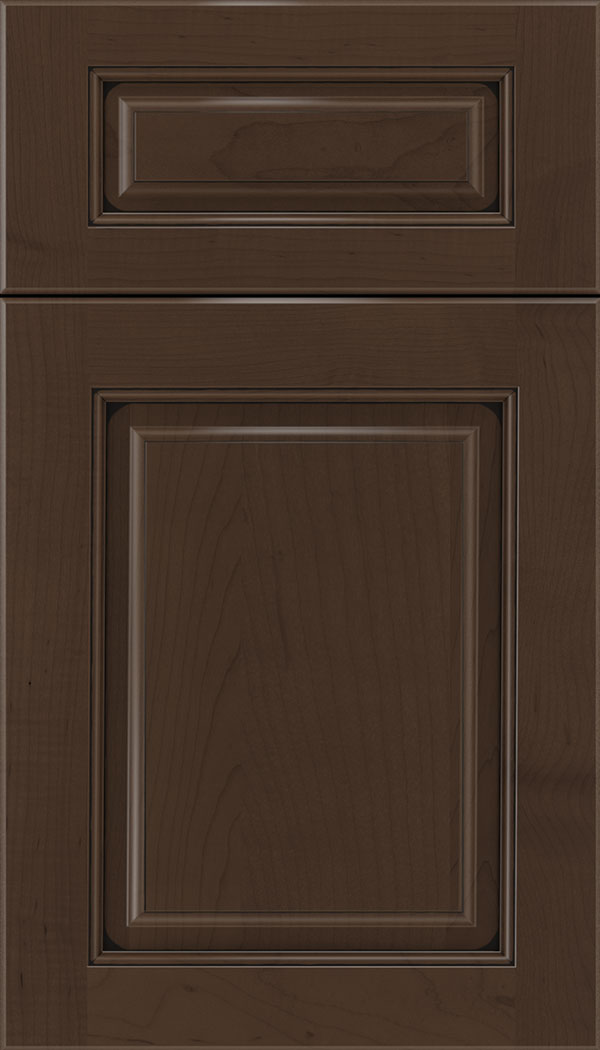 Marquis 5pc Maple raised panel cabinet door in Cappuccino with Black glaze