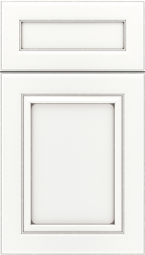 Paloma 5pc Maple flat panel cabinet door in Whitecap with Pewter glaze