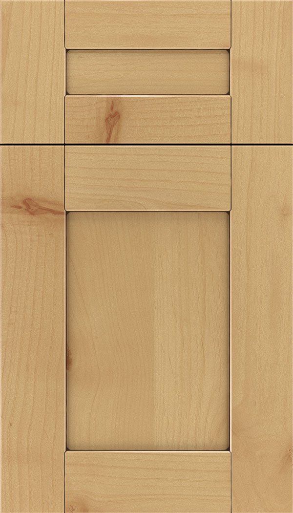 Pearson 5pc Alder flat panel cabinet door in Natural with Mocha glaze