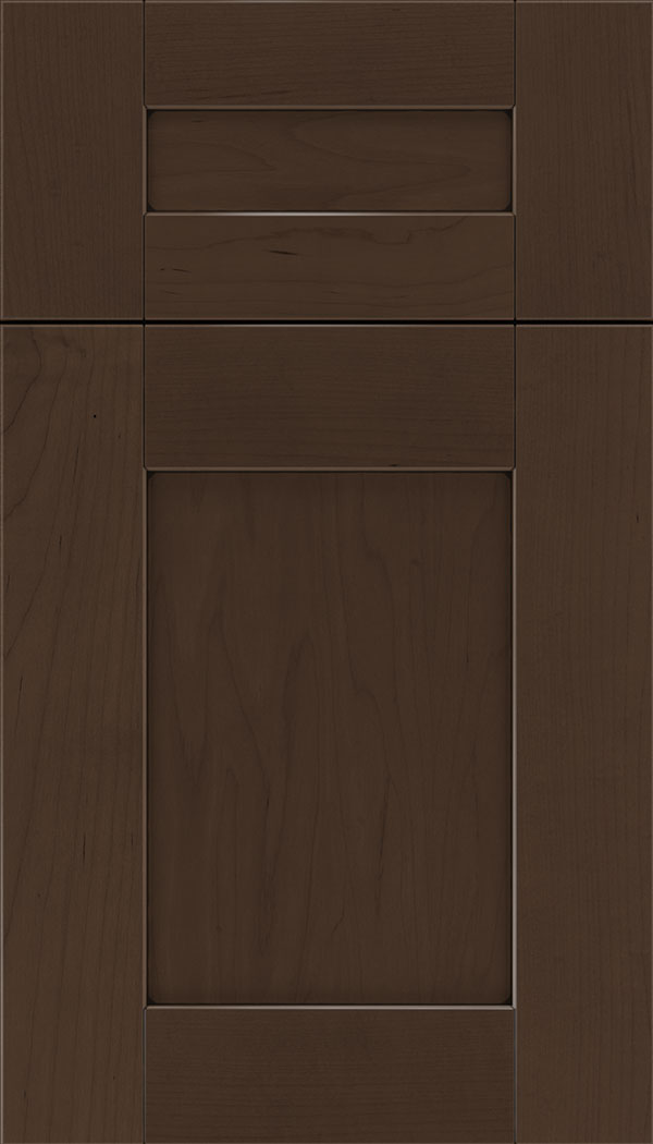 Pearson 5pc Maple flat panel cabinet door in Cappuccino with Black glaze