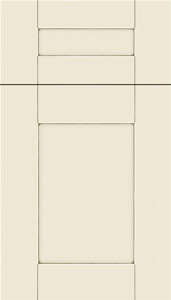 Pearson 5pc Maple flat panel cabinet door in Seashell with Smoke glaze