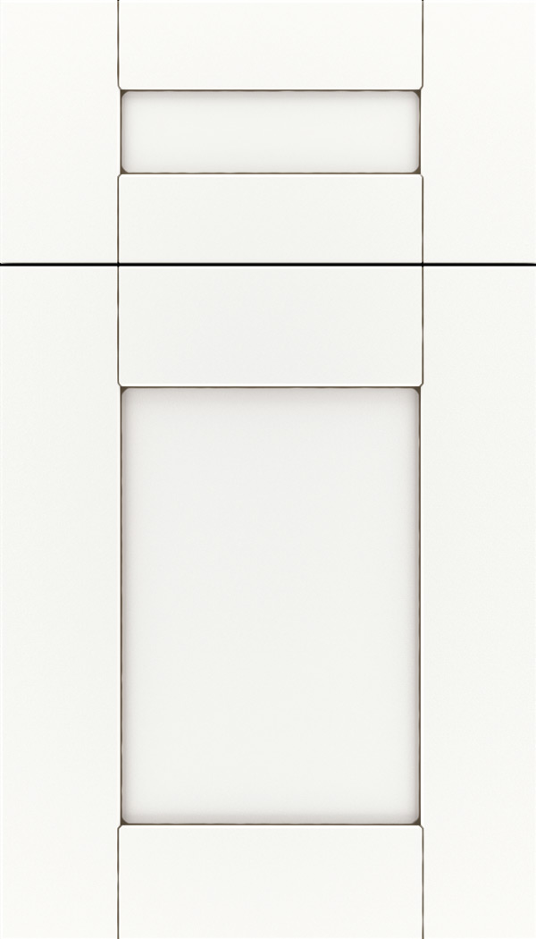 Pearson 5pc Maple flat panel cabinet door in Whitecap with Smoke glaze