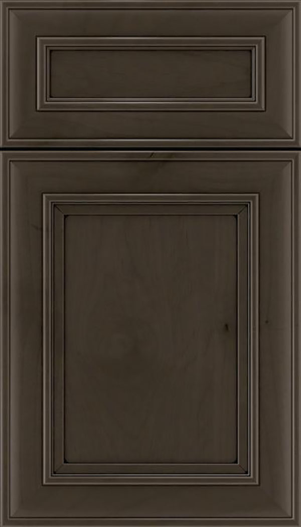 Sheffield 5pc Alder recessed panel cabinet door in Thunder with Black glaze