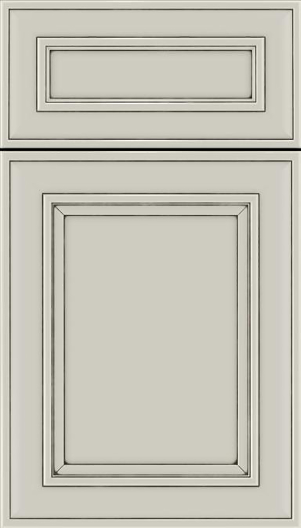 Sheffield 5pc Maple recessed panel cabinet door in Cirrus with Smoke glaze