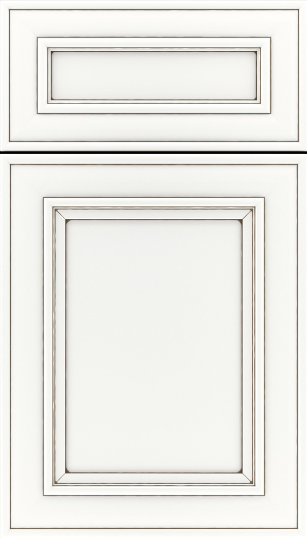 Sheffield 5pc Maple recessed panel cabinet door in Whitecap with Smoke glaze