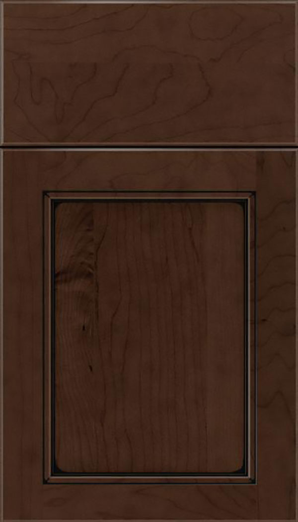 Templeton Maple recessed panel cabinet door in Cappuccino with Black glaze