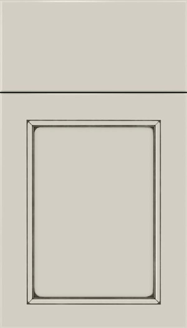 Templeton Maple recessed panel cabinet door in Cirrus with Smoke glaze