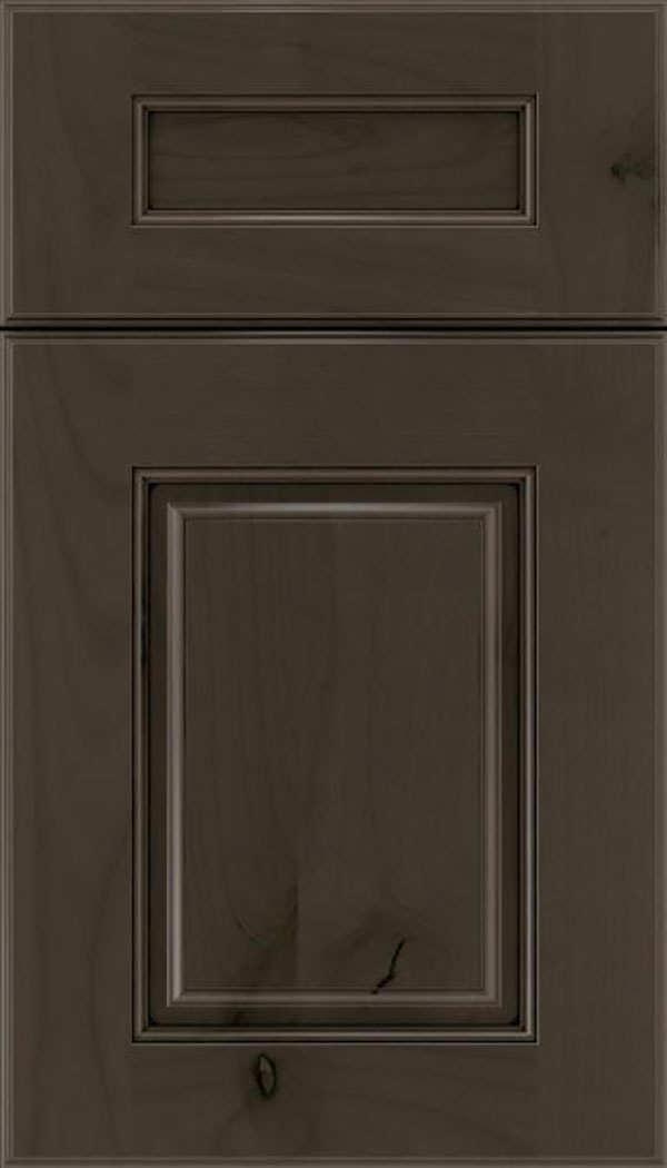 Whittington 5pc Alder raised panel cabinet door in Thunder with Black glaze