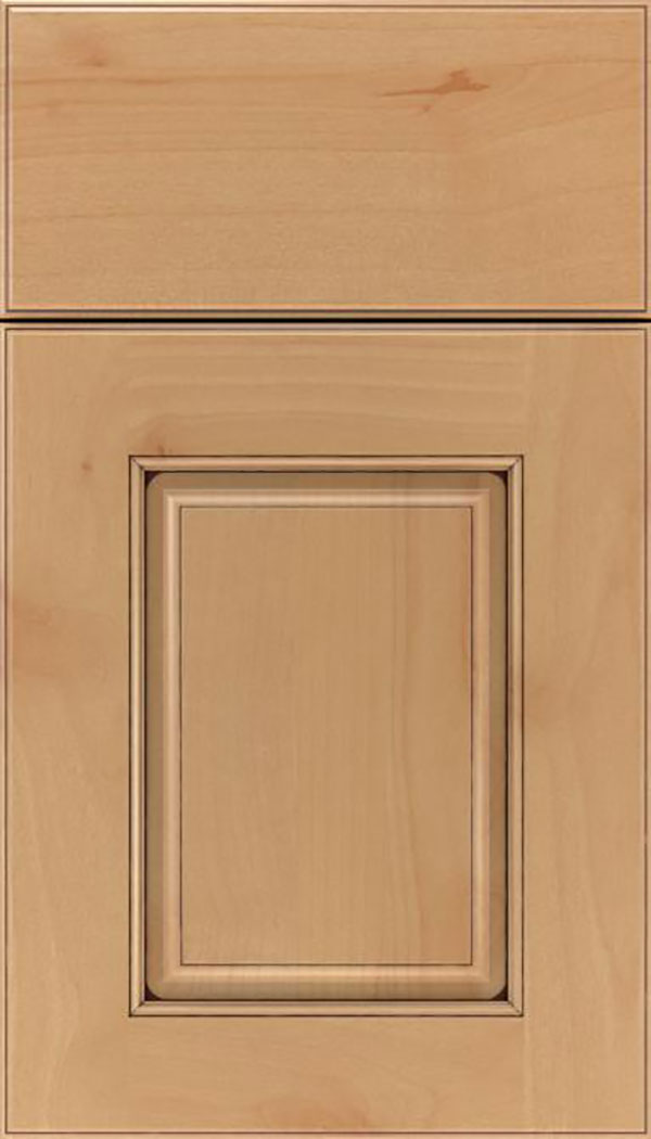 Whittington Alder raised panel cabinet door in Natural with Mocha glaze