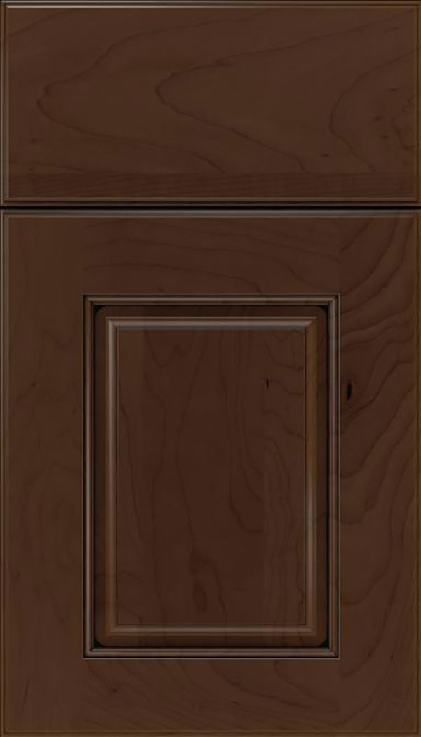 Whittington Maple raised panel cabinet door in Cappuccino with Black glaze