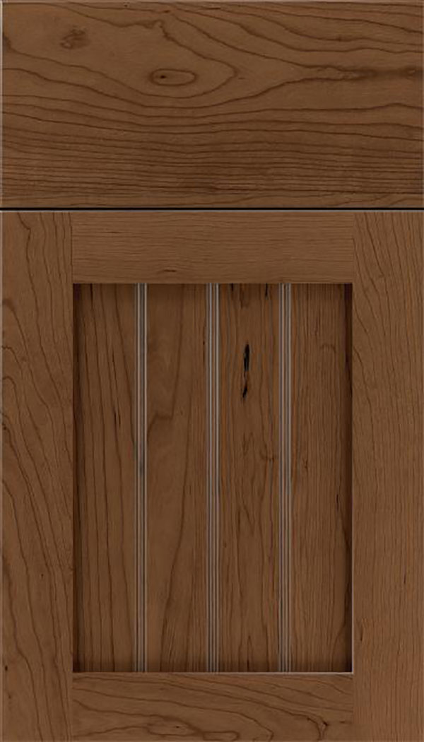 Winfield Cherry beadboard cabinet door in Toffee