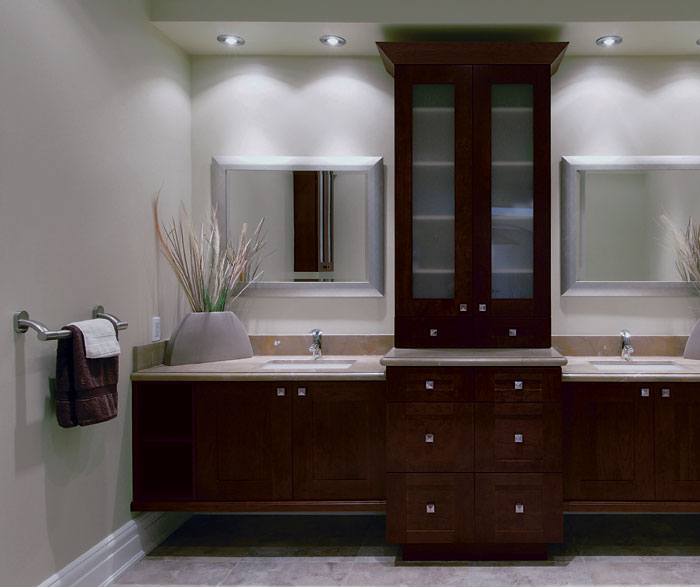 Contemporary bathroom vanities with storage cabinets by Kitchen Craft Cabinetry