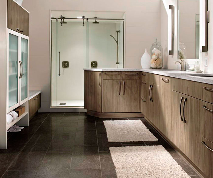 Modern bathroom cabinets in thermofoil by Kitchen Craft Cabinetry