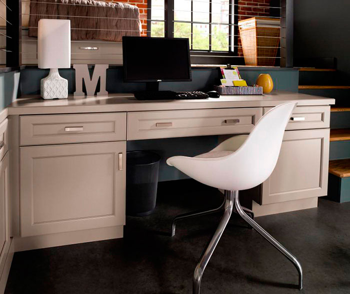 Gray Cabinets in casual office by Kitchen Craft Cabinetry